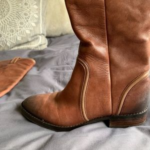 Saks fifth avenue brown leather riding boots